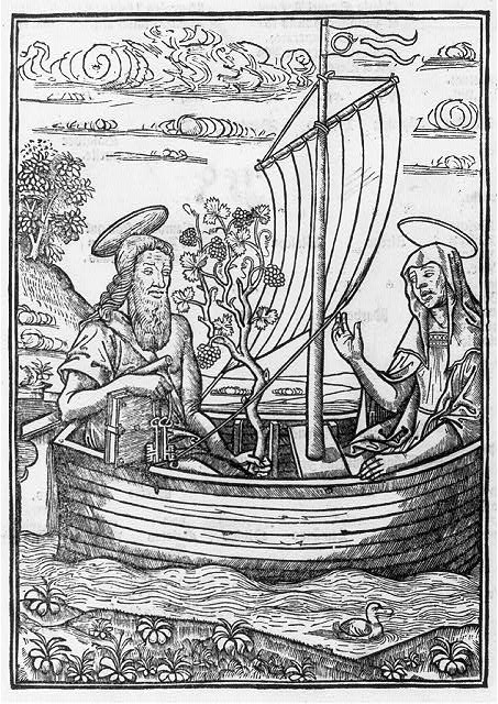 [St. Peter and a female saint (Religion?) in a sailboat]