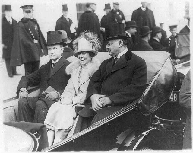 [Washington, D.C. - inauguration of Calvin Coolidge - Coolidges and Sen. Curtis in open carriage on way to Capitol]