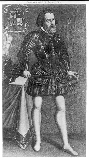 [Hernando Cortes, 1485-1547, full-length portrait, standing, facing right]