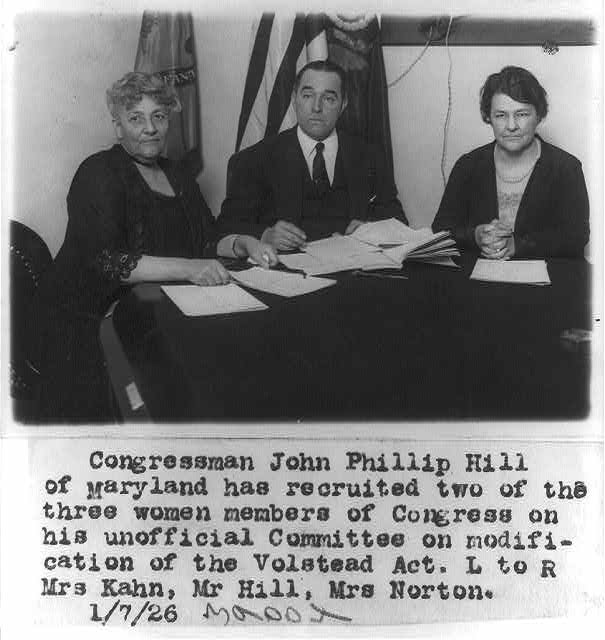 [Congress, U.S. - women members: Mrs. Kahn, Mrs. Norton and John Phillip Hill - unofficial committee on modification of Volstead Act]