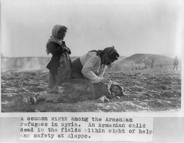 "[Syria - Aleppo - Armenian woman kneeling beside dead child in field ""within sight of help and safety at Aleppo""]"