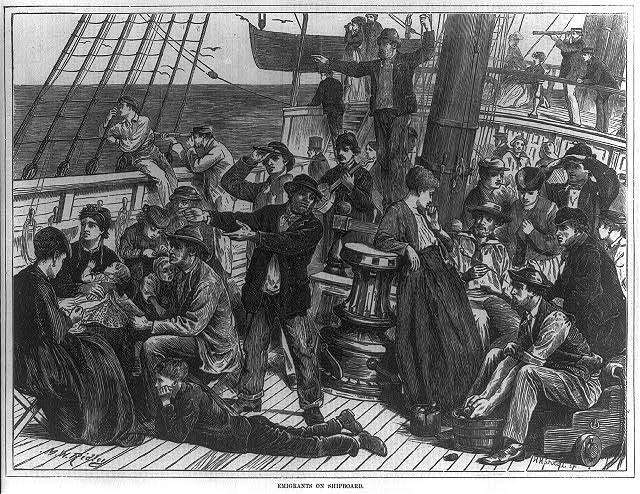Emigrants on shipboard