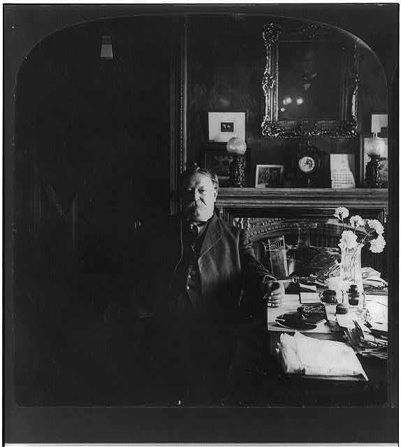 "[William Howard Taft, half length, seated, facing slightly left, ""at his desk in War Dept""]"