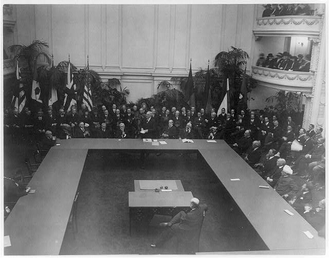 General view of World Disarmament Conference in session at D.A.R. Hall, Wash., D.C. Sept. 1921 - Pres. Harding addressing members