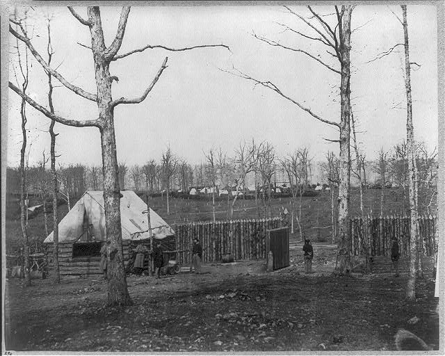 [Sutler's hut and camp of 50th New York Engineers, Rappahannock Station, Va.]