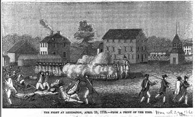 The fight at Lexington, April 19, 1775, from a print of the time