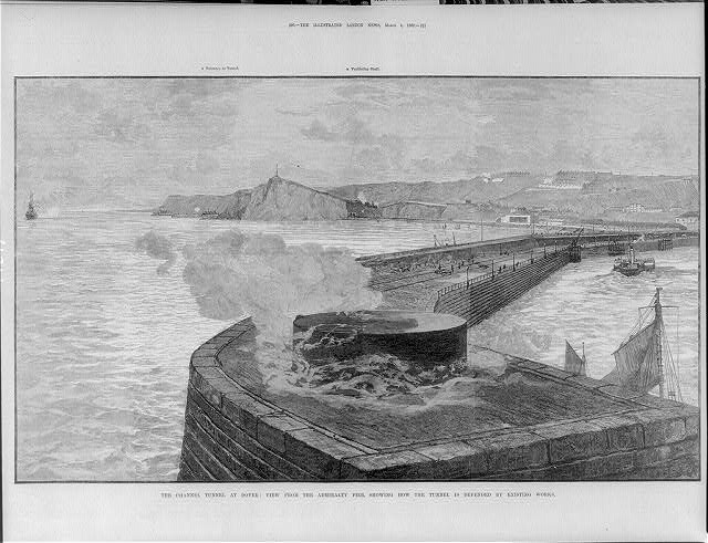 The Channel Tunnel Work at Dover [England]: view from the Admiralty Pier,...
