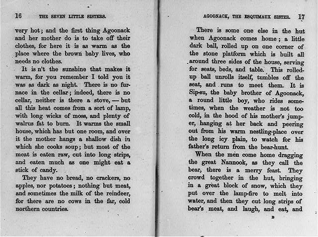 "[Two pages of text from Jane Andrews' ""Seven little sisters""]"
