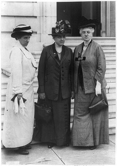 [Julia Lathrop, Jane Addams, and Mary McDowell in Washington, 1913, on a suffrage mission on Capitol Hill]