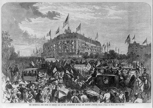 [The crush on opening day of the centennial at the intersection of Elm and Belmont Avenues, Philadelphia, 1876]
