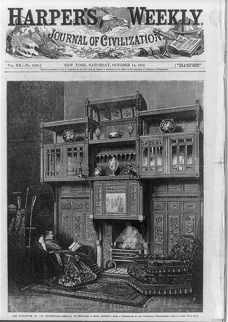 [Art furniture at the centennial, Philadelphia - display of Howard & Sons, London, 1876]