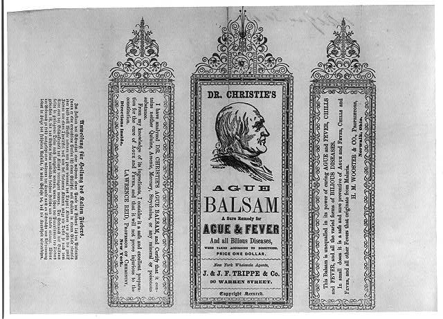 Dr. Christie&#39;s Ague Balsam - a sure remedy for ague, fever and all bilious diseases
