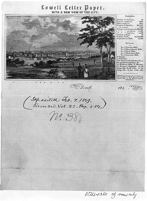 Lowell letter paper. With a new view of the city