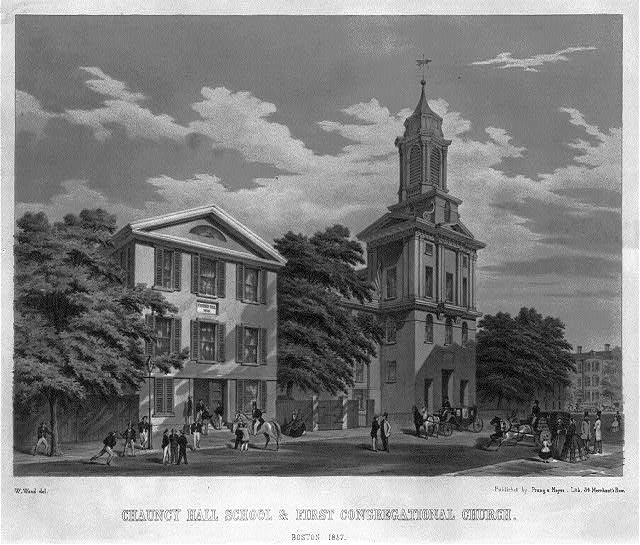 Chauncy Hall School & First Congregational Church. Boston 1857