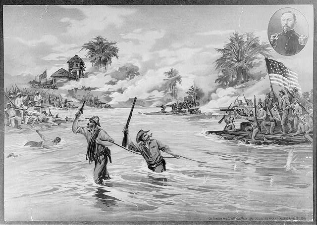 Col. Funston and 20th Kansas volunteers crossing the river at Calumpit, April 26th 1899