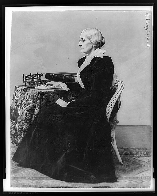 [Susan B. Anthony, full-length portrait, seated, facing left]