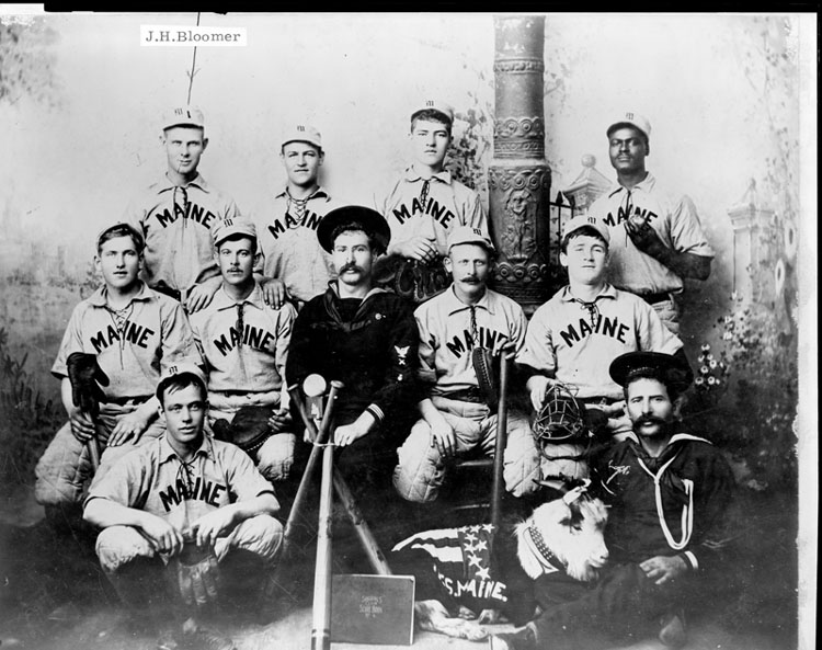 """The Maine base ball club""--All blown up at Havana except no. 1 J.H. Bloomer"