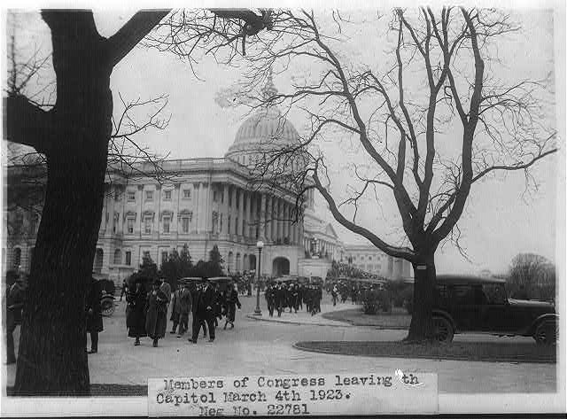 Members of Congress leaving the Capitol, Washington, D.C.