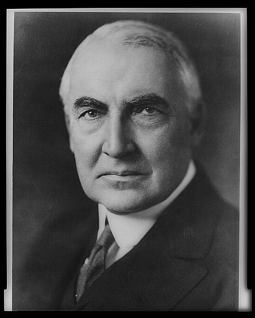 [Senator Warren G. Harding, head-and-shoulders portrait, facing front]