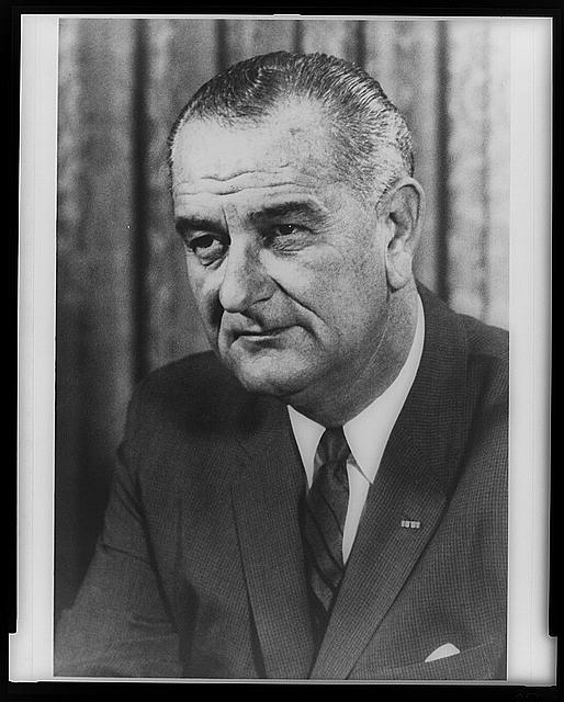 [Lyndon B. Johnson, head-and-shoulders portrait, facing left]