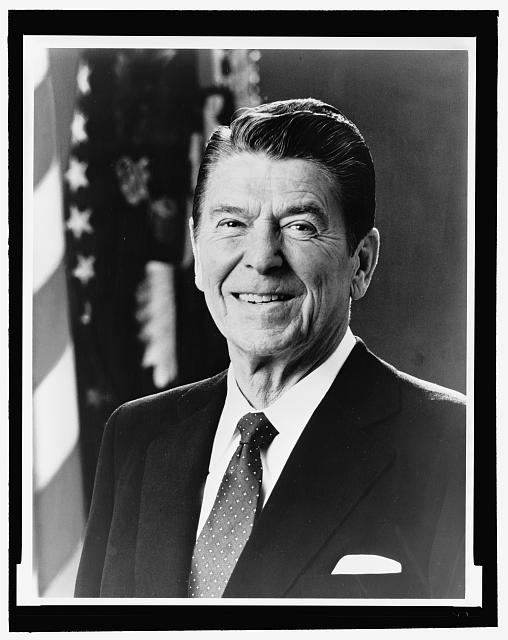 [Ronald Reagan, head-and-shoulders portrait, facing front]