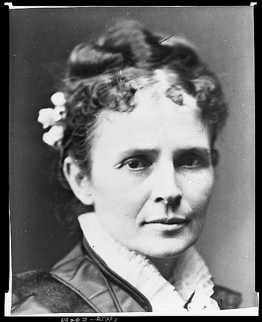 [Mrs. James Garfield, three-quarters length portrait, standing, facing slightly right]
