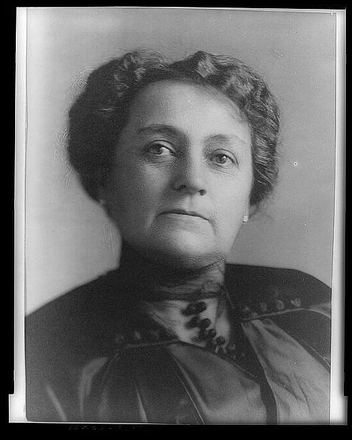 [Mrs. Benjamin Harrison, three-quarters length portrait, seated, facing slightly left]