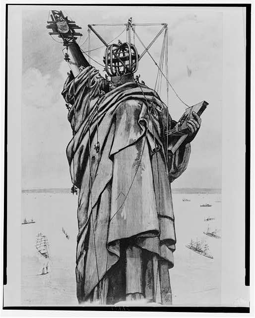 [Construction of the Statue of Liberty]: Re-constructing the statue on Bedloe's Island