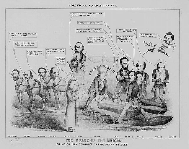Political caricature. No. 1, The grave of the Union. Or Major Jack Downing's dream /
