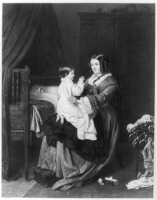 [Mother & child at bedtime]