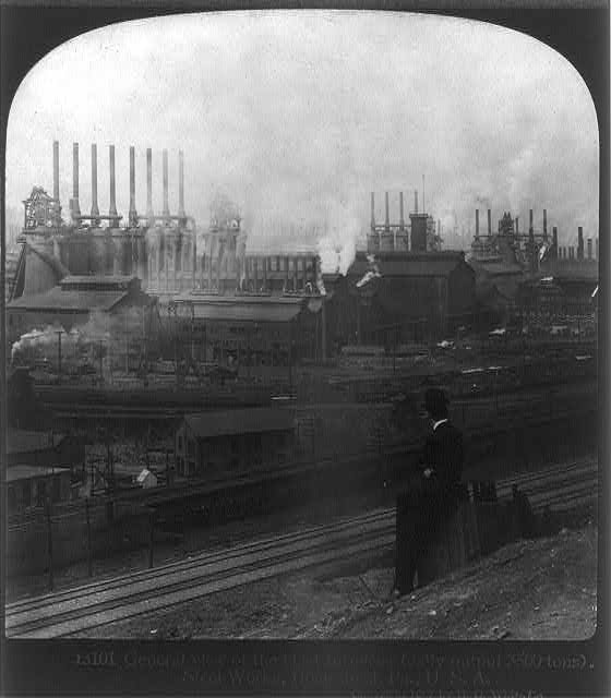 General (exterior) view of the blast furnaces, Steel Works, Homestead, Pa.