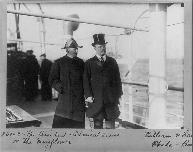 "The President & Admiral Evans on the ""Mayflower"""