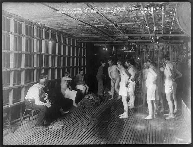 Male lodgers bathing at the Municipal Lodging House, N.Y.