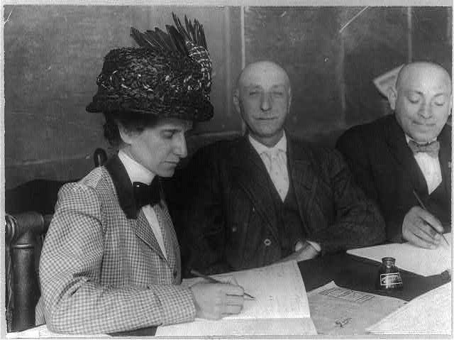 Edith Campbell registering (to vote?)