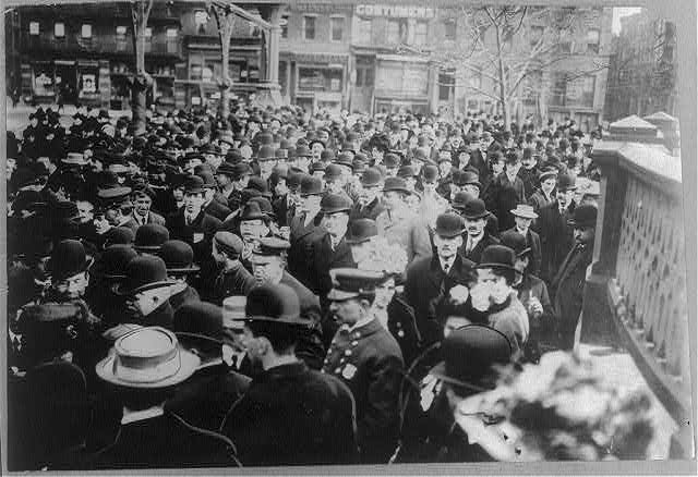 America's first Suffragette parade which marched up Broadway to Union Square, New York, Feb. 1905
