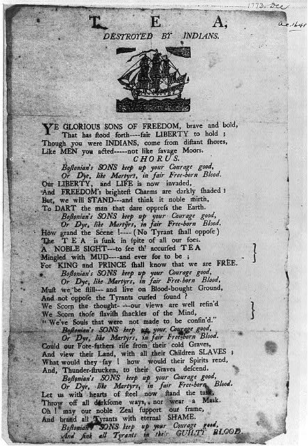 Broadside of Revolutionary War period: Tea Destroyed by Indians