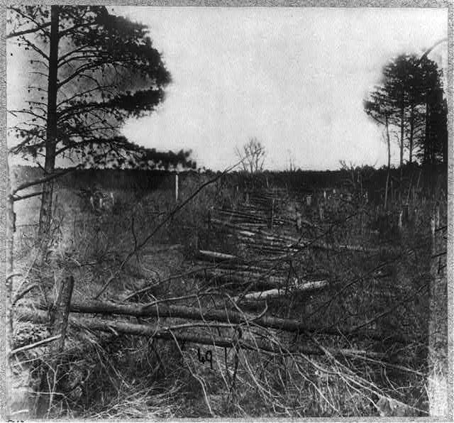 Confederate entrenchments in the woods near Spotswood's House