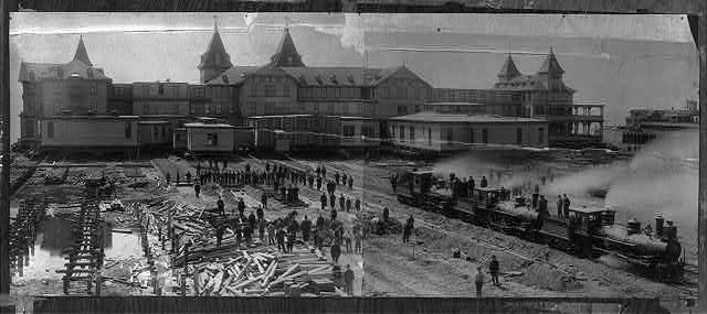 [The Brighton Beach Hotel, Brooklyn, N.Y., being moved away from beach front]