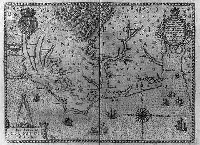 [Map of the coast of Virginia in 1585]