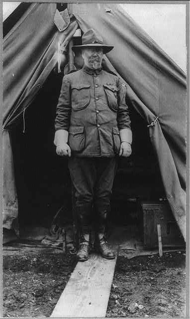 Fort Sam Houston, Tex., 1911-1912: Gen. Ralph W. Hoyt, standing outside tent