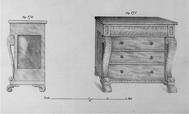 [Measured drawing of chest of drawers; front and side views]