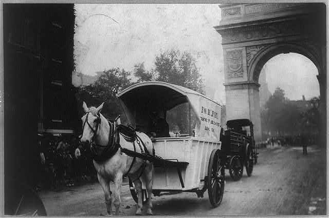 Work Horse parade, New York City: horse and delivery wagon