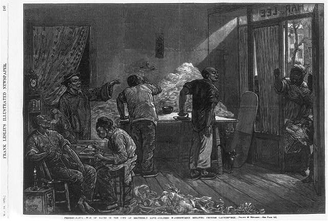 Pennsylvania - war of races in the city of brotherly love - colored washerwomen berating Chinese laundrymen