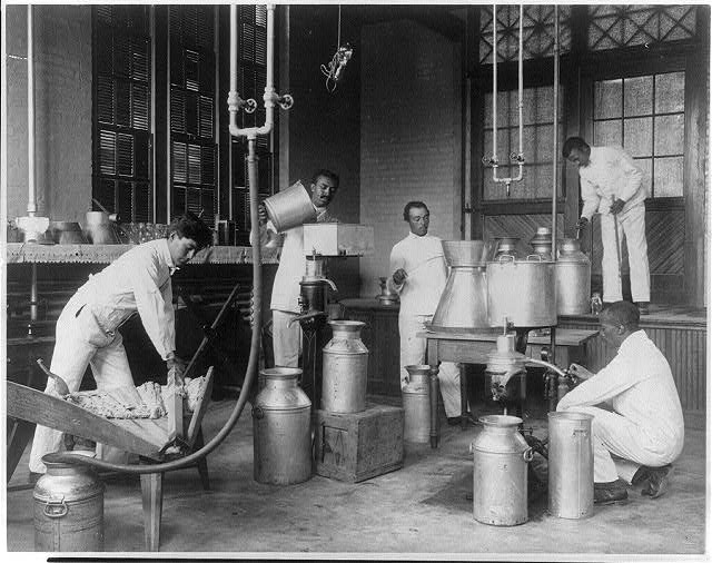 Five men making butter in a class at Hampton Institute, Hampton, Va.