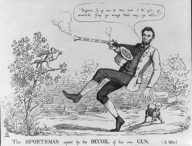 The sportsman upset by the recoil of his own gun (Jo. Miller)