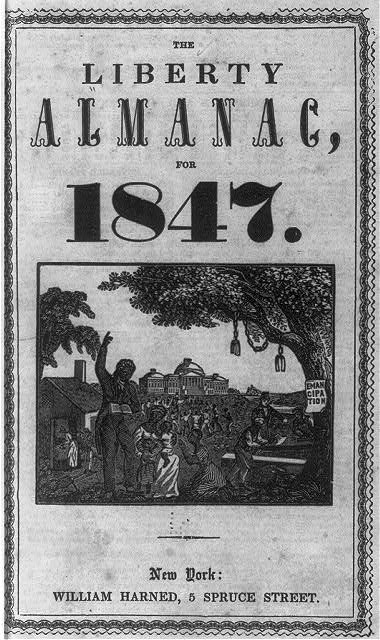 The Liberty Almanac for 1847: [title page, showing freed slave with U.S. Capitol in background]