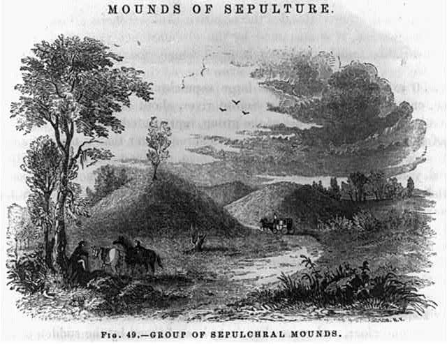 [Ancient Indian burial mounds. Moundsville, W.Va.] Group of Sepulchral Mounds