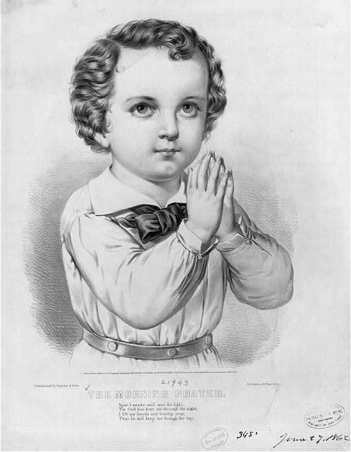 The morning prayer.  Currier & Ives.  c1862.  Library of Congress.