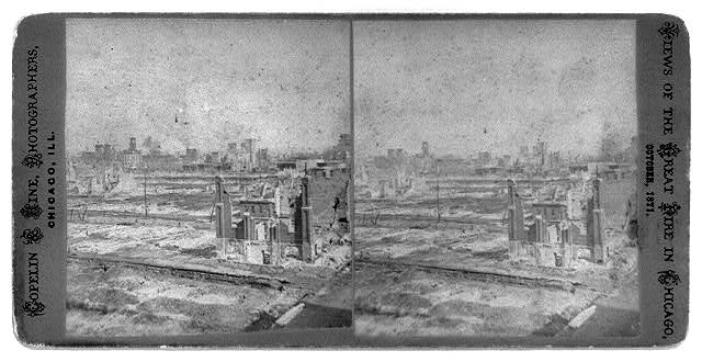 [Ruins after the great fire of Oct. 1871, Chicago]: View from Hamsin St.