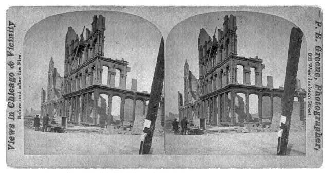 [Ruins after the great fire of Oct. 1871, Chicago - looking N.E. from corner of State & Madison St.]